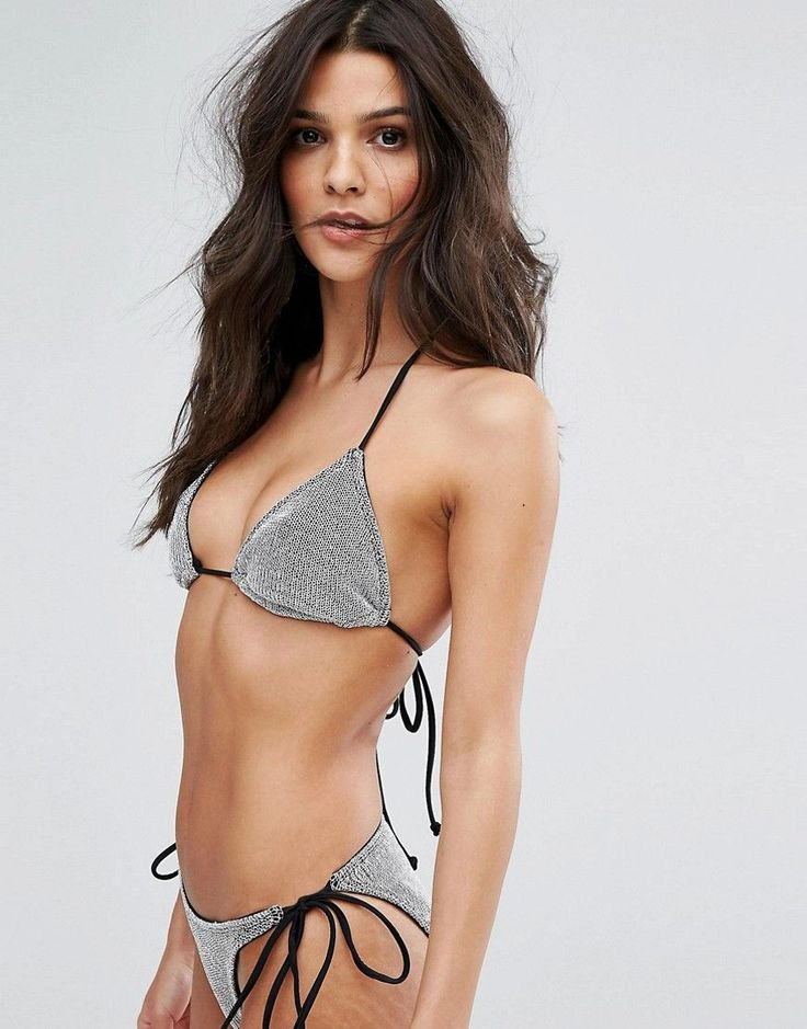 ASOS Chain Mail Effect Triangle Bikini Top - Silver