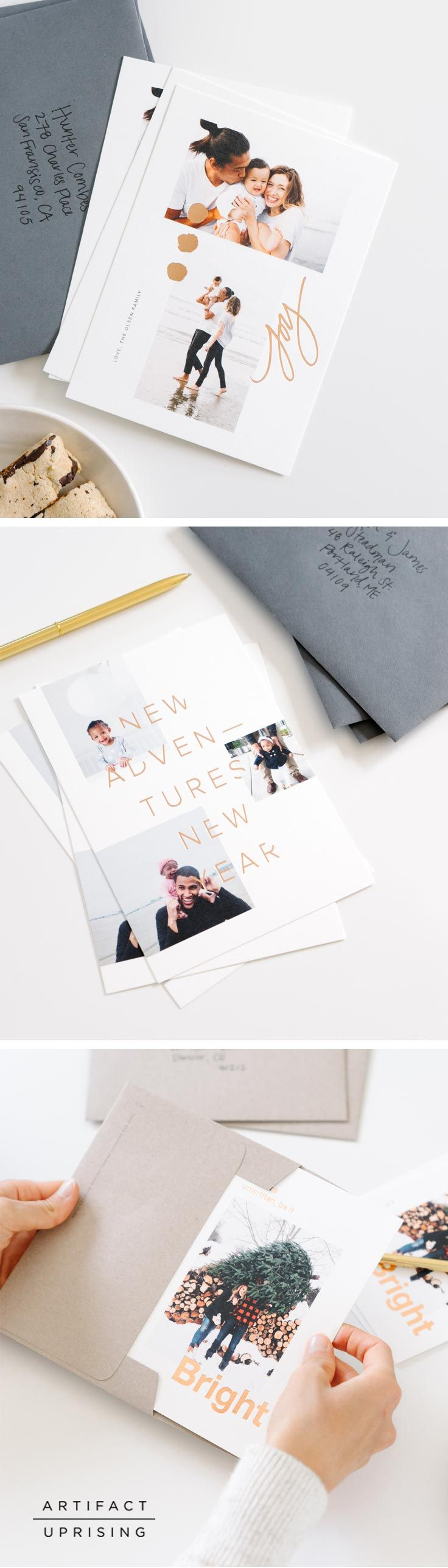 Oh, these? Just your best holiday cards yet. With all-new designs, foil stamping options and 100% recycled papers, Aunt Helen won't be able to get it to the fridge fast enough. Exclusively from @artifactuprsng.