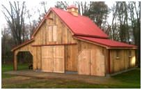 Small Barns to Build | The Red Maple Pole- Barn has an 18'x24' all-purpose central space, a ...