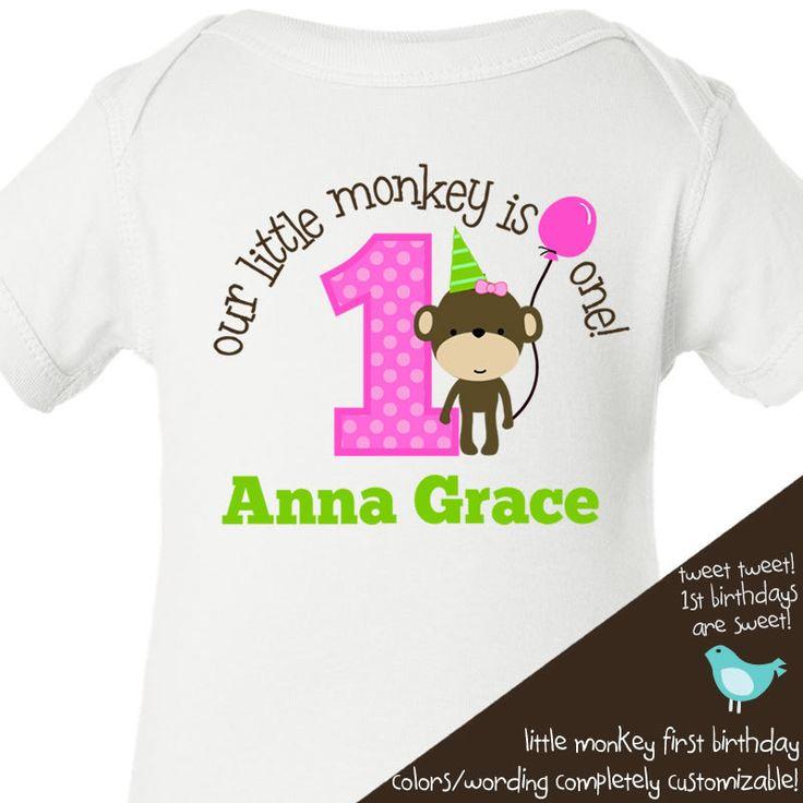 1st birthday girl monkey | Birthday shirt -this little monkey jungle themed first birthday girl ...