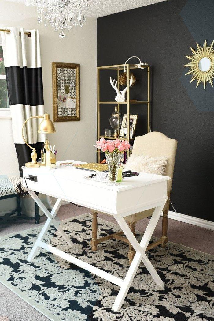Black White And Gold Glam And Feminine Home Office Feminine