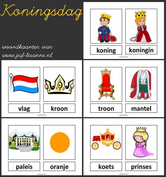 Koningsdag woordkaarten vb
