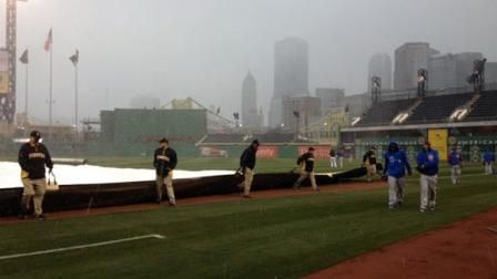 The tarp comes back out at PNC Park because of snow, Monday, April 1, 2013. Photo by ABC7s Rafer Weigel.