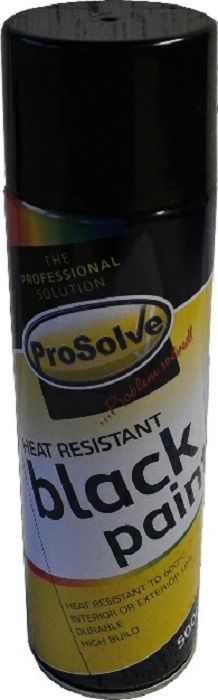 Prosolve Spray Paint Heat Resistant Black 500ml - woodcare and finishes - paints - Spray Paint Heat Resistant Black 500ml - Timber, Tool and Hardware Merchants established in 1933