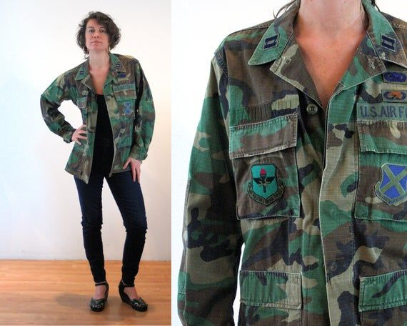 80s Camo Jacket S M Us Air Force Military Vintage Woodland
