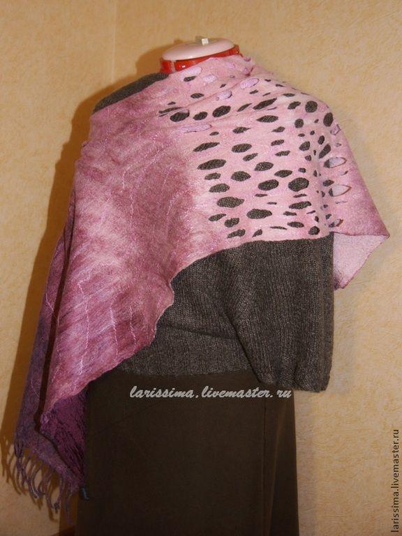 """Купить Шарф-трансформер """" Брызги Сангрии"""" - бордовый, абстрактный, винный цвет, розовый, шелк"""