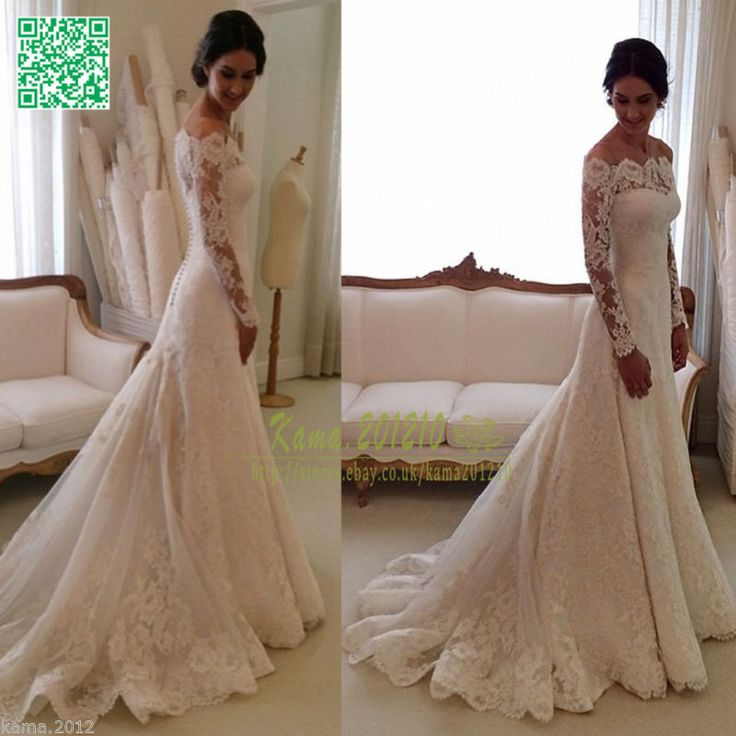 My dream dress!!!! Elegant Lace Wedding Dresses White Ivory Off The Shoulder Garden Bride Gown 2015