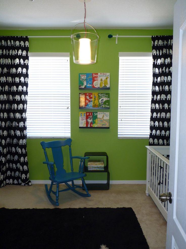 Black white and green nursery