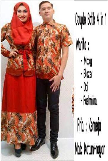 Couple Batik Merah 4 in 1, Maxy + Blazer + Pashmina + Obi + Kemeja Pria, Bahan Katun Kombi Rayon     Fit L     Harga : Rp. 245.000,-/pasang     Kode Produk / Product Code : CL2315
