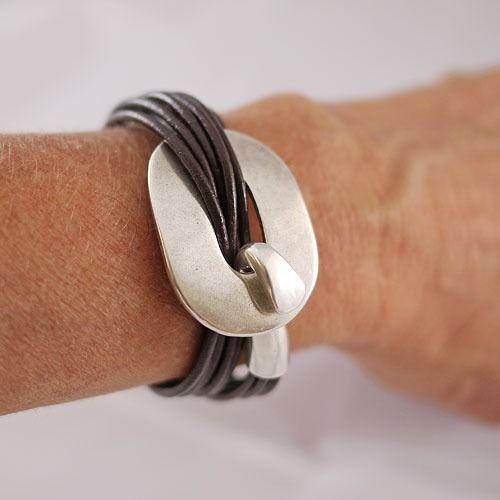 Bracelet cuir femme marron - fermoir boucle argent - bracelet cuir artisanal : Bracelet par bracelets-cuir