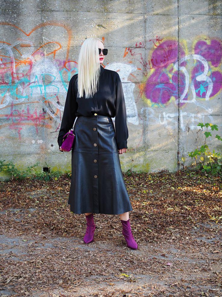 Su stylst du einen Lederrock für den den Herbst richtig ! Mehr Stylings und Trends auf meinem Modeblag Sandra Levin. Rock/ Leder/Gucci Marmont/ schwarz/pink/ Fashion/ Mode