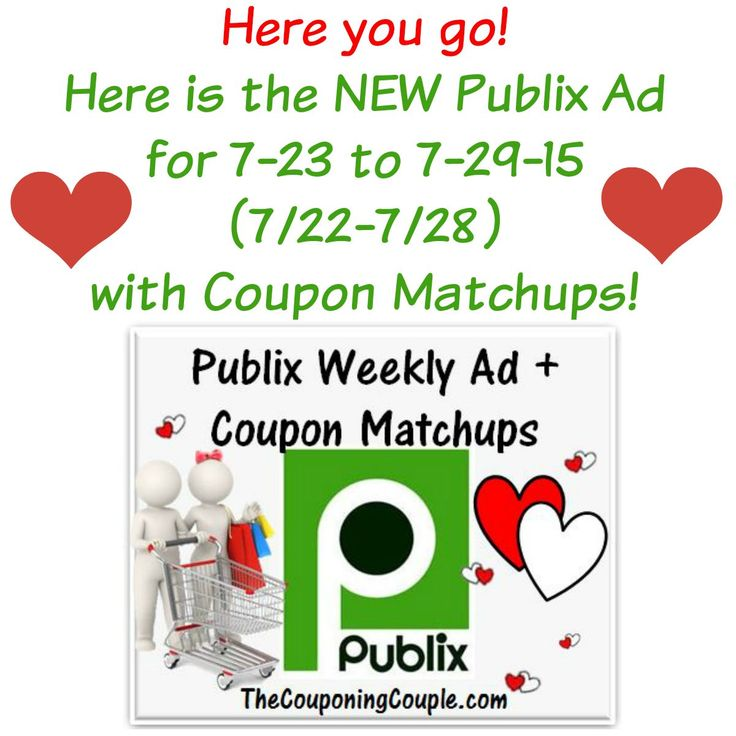 ***HERE YOU GO*** Here is the NEW Publix Ad with coupon matchups for 7-23 to 7-29 (or 7/22-7/28 for those whose ad begins on Wednesdays). Click the link below to get all of the details ► http://www.thecouponingcouple.com/publix-ad-with-coupon-matchups-for-7-23-to-7-29-15/  Not Only are you getting the the NEW Ad with Matchups but: 1. Final Prices for True BOGO FREE and 1/2 Price BOGO FREE! 2. Final Prices for Doubles and NO Doubles!! 3. DIRECT LINKS to all Printable