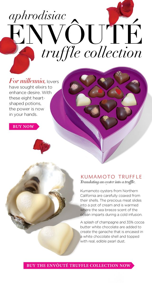New limited edition truffles. The kumamoto (kumamoto oyster-infused fresh cream + champagne + 34% cocoa butter white chocolate + edible pearl dust) sounds amazing!!