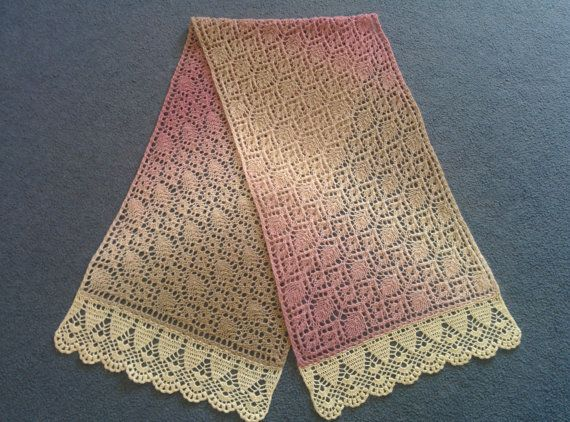 Hand knitted with crocheted border rectangular pink-beige-white gradient lace stole, shawl. 100% lambs wool.