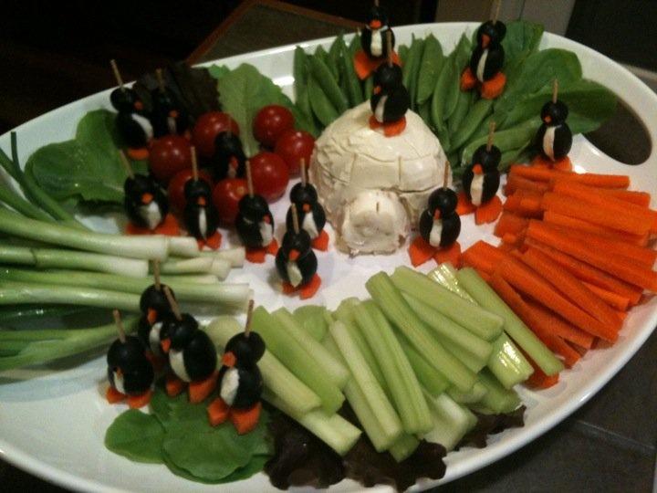 Crudites Platter Featuring Black Olive Penguins And
