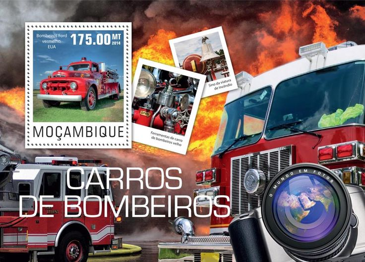 Post stamp Mozambique MOZ 14425 bFire engines (Red Ford fire truck)