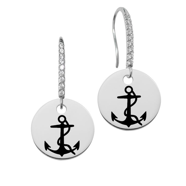 Delta Gamma Symbol Round Charm and CZ Earring in Solid Sterling Silver