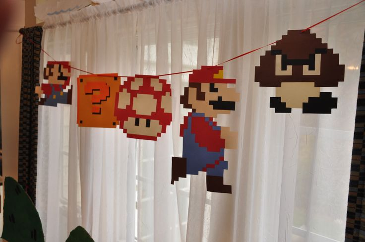 Pixel mario decorations party ideas pinterest for Mario decorations