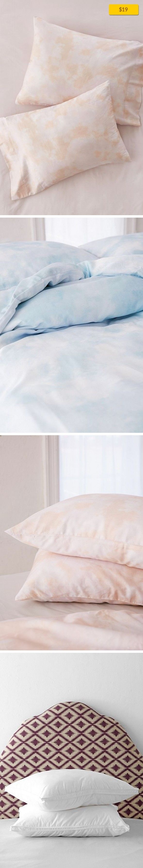 """Subtle Tie-Dye Pillowcase Set Sale, Apartment Sale, Bedding   Subtly tie-dyed pillowcase set for a soft, dreamy look that reminds us of clouds. Neutral enough to mix + match or pair perfectly with our subtle tie-dye sheet set + duvet cover, both sold separately. Content + Care - Cotton - Machine wash - Imported Size - Dimensions: 20""""h x 30""""l"""