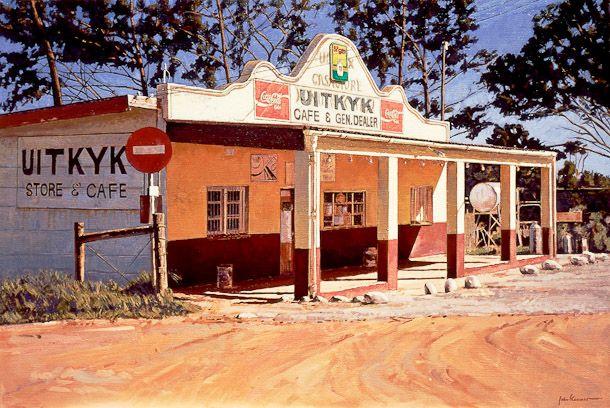 Uitkyk, Cash Store, Hermanus, 1995. Oil on canvas by John Kramer. Size: 76 x 113cm.