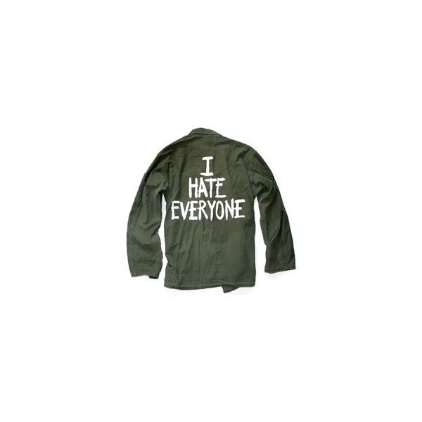I HATE EVERYONE Vintage Army Jacket/Shirt - One Size ($89) ❤ liked on Polyvore featuring outerwear, jackets, tops, shirts, military jacket, field jacket, green jacket, vintage jackets and army green jacket