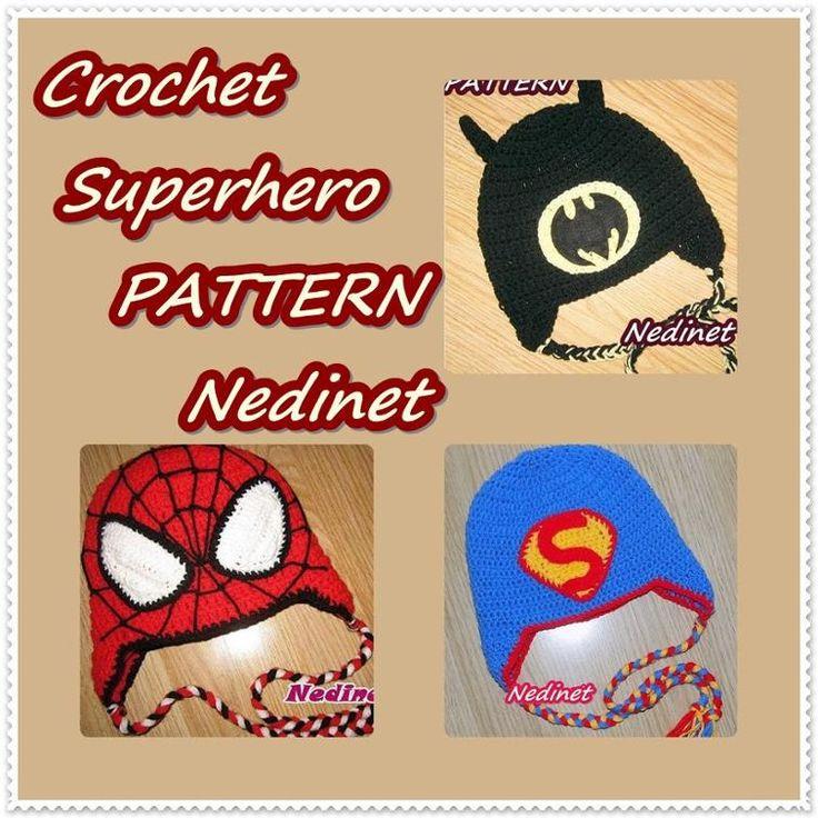 Crochet Superhero hat PATTERN, Spiderman, Batman,   Craftsy