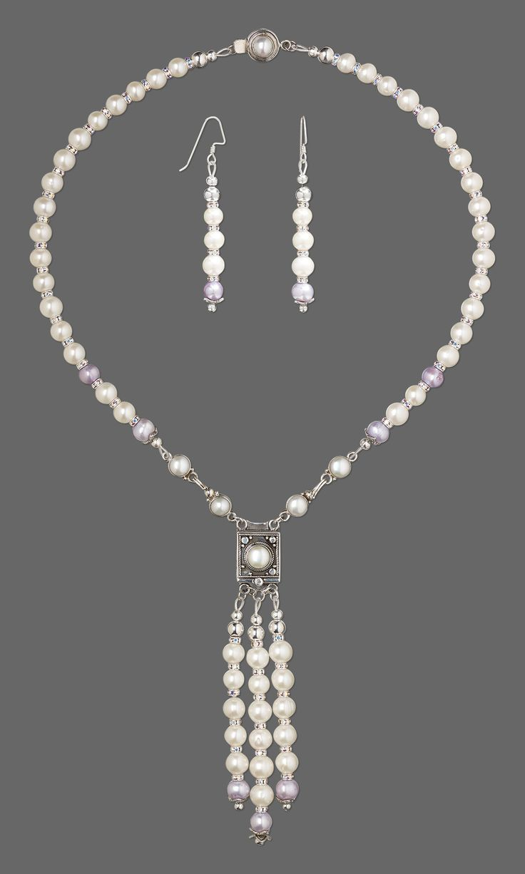 Jewelry Design - Convertible Single-Strand Necklace and Earring Set with Cultured Freshwater Pearls, Swarovski® Crystals and Cultured Freshwater Pearl and Sterling Silver Clasps - Fire Mountain Gems and Beads
