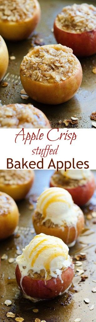 Delicious baked apples stuffed with apple crisp filling! These are amazing Fall treats!