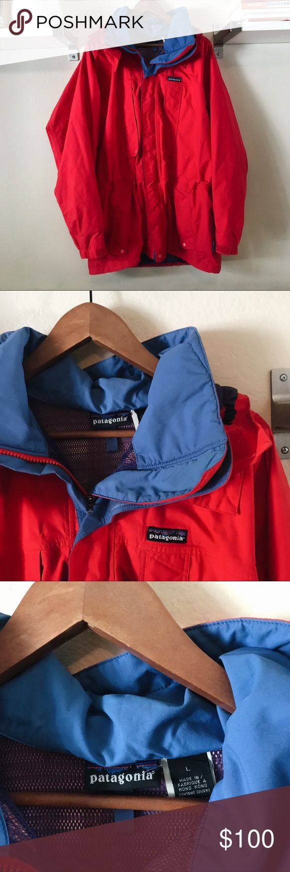 Patagonia Ski Jacket Super awesome retro Patagonia ski jacket. Men's Large. There are multiple pockets on the front and on the inside. Super heavy, warm, and waterproof! This is in 9/10 condition, there are just some very tiny marks from being used (see last photo). Otherwise no flaws/rips/holes. MEASUREMENTS: 🌸 Length: 33in 🌸 Armpit to armpit: 27in. NO TRADES. Feel free to ask questions! Patagonia Jackets & Coats Utility Jackets