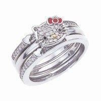 Hello Kitty 3 Stack Rings -- Diamond Sweet Statements by Simmons Jewelry