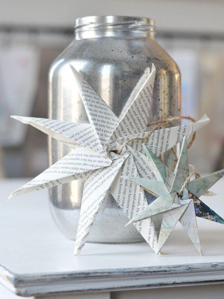 8-zackiger Origami Stern aus Bücherseiten