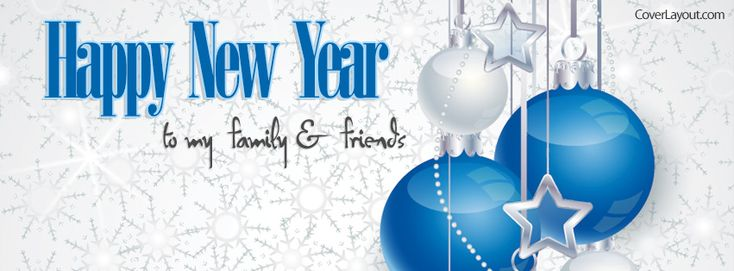 Blue Happy New Year Family and Friends Facebook Cover CoverLayout.com