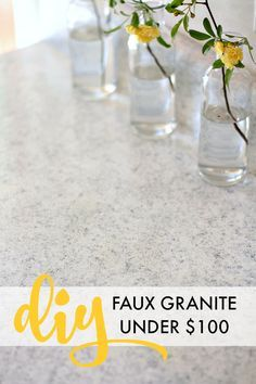 Beautiful and affordable DIY countertop remodel, using PAINT from Giani's White Diamond kit to create a faux granite look! All for under $100!!