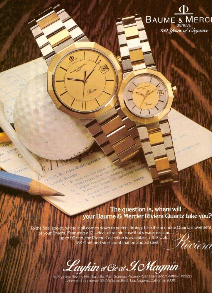 1980 Baume & Mercier Riviera Quartz Watch Print Ad Vintage Advertisement VTG 80s | eBay