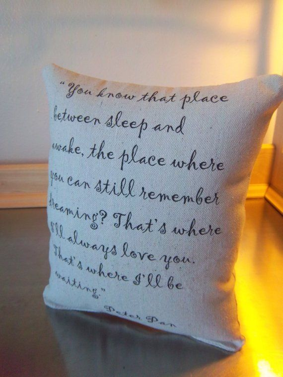 Peter Pan pillow, cotton throw pillow, 2nd anniversary , cotton gift,