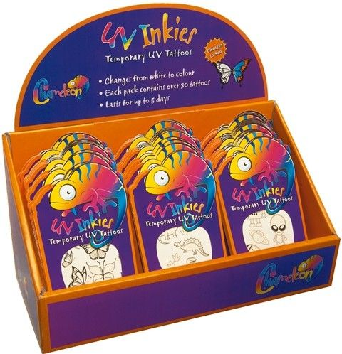 UV Inkies Temporary Tattoos Coolest tattoos ever! Colour changing in the sun - awesome way to teach the kids about sun safety ☀️