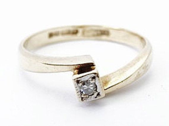 Arte Deco estilo señoras diamante solitario cruce de anillo de