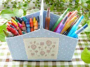 Artesanato com Caixa de Leite cestinha de lápis