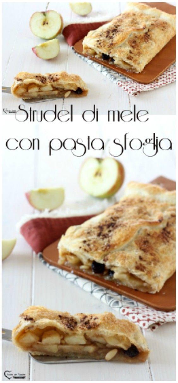 Strudel con pasta sfoglia alle mele #cucina #ricette #mele #strudel