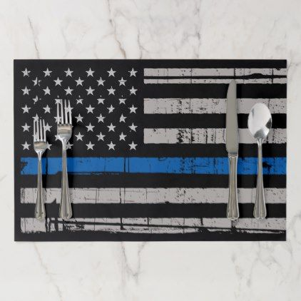 Thin Blue Line - Police Officer - K9 Police Dog Paper Placemat - office decor custom cyo diy creative