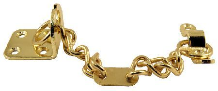 Door Furniture Direct Brassed Front Door Chain Brassed front door chain. One plate is fitted to the door and the other to the frame. The chain is connected to both plates to prevent the door being forced open. Plate sizes are 45x38mm and 60x13mm.  http://www.MightGet.com/january-2017-12/door-furniture-direct-brassed-front-door-chain.asp