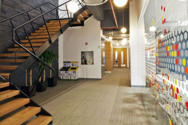 corporate office decor | Colorful corporate office interior design by Space Architecture
