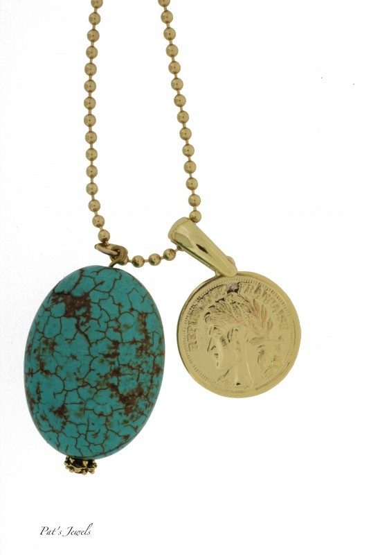 Trendy gouden munt ketting Turquoise | Kettingen | Pat`s Jewels