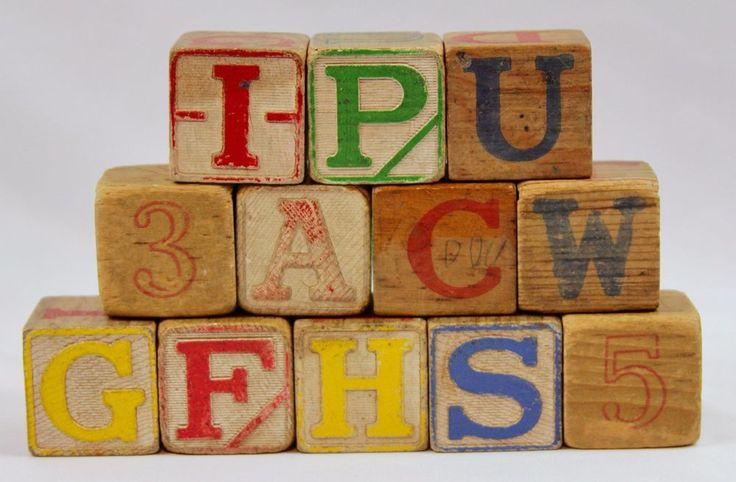 Wooden Blocks Letters Numbers Vintage Antique Carved Collectible Set of 12 Toys  #Unbranded