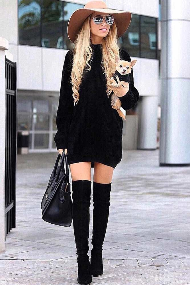 high boots and dress