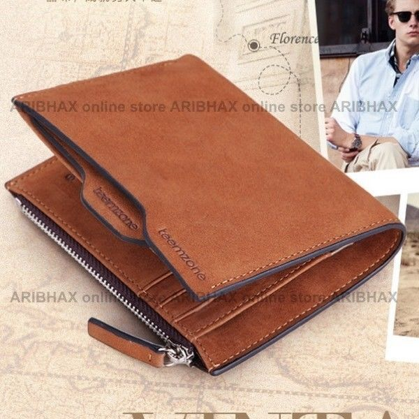 Bifolded Exclusive Suede Multifunction Organizer Brown Wallet for Men #Teemzone #Bifold