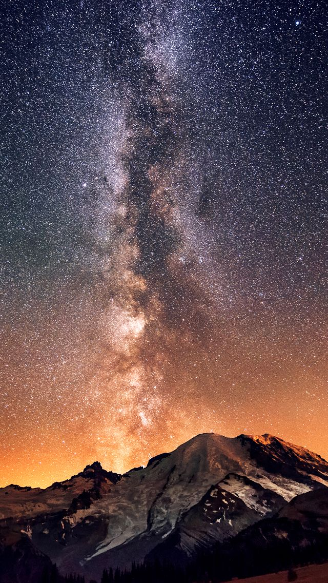 Milky Way Galaxy Bulge Above Mountain Iphone 5 Wallpaper