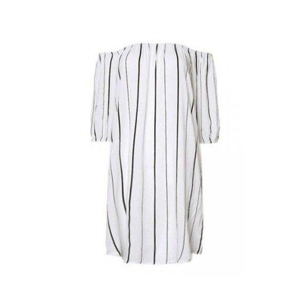 Women Off Shoulder Stripe Mini Dress Summer Beach Dress (43 PLN) ❤ liked on Polyvore featuring dresses, mini dresses, white, white collar dress, short-sleeve dresses, short dresses, beach dresses and white beach dresses