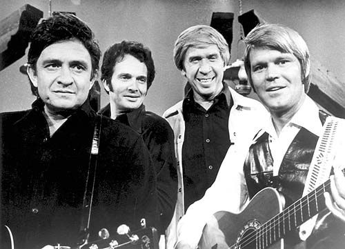"""The Glen Campbell Goodtime Hour "" Johnny Cash, Merle Haggard, Buck Owens & Glen Campbell."