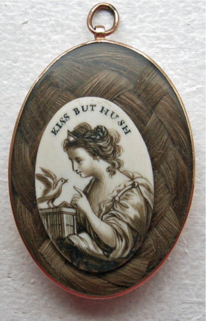 Georgian era love token with sepia on ivory over woven hair